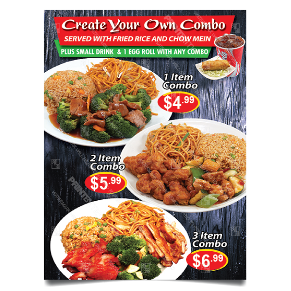 CF-185 Chinese Food Create Your Own Combo Poster